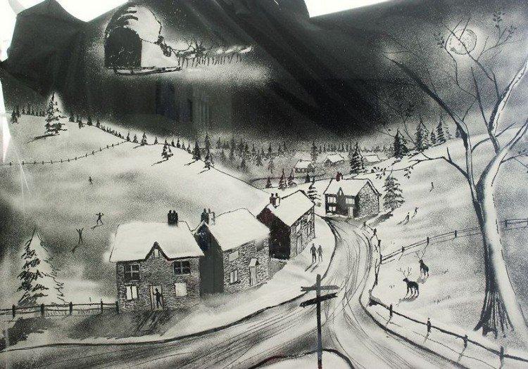 houses snow scene