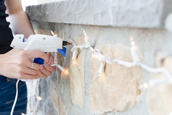 lights bricks glue gun