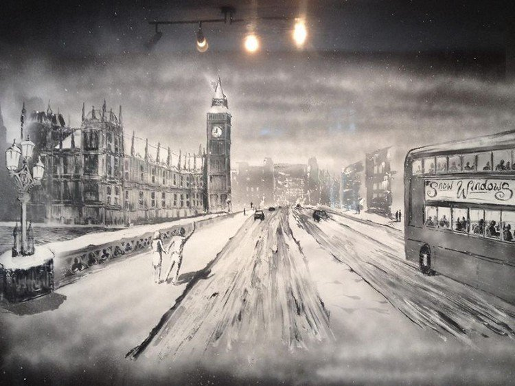 london snow art
