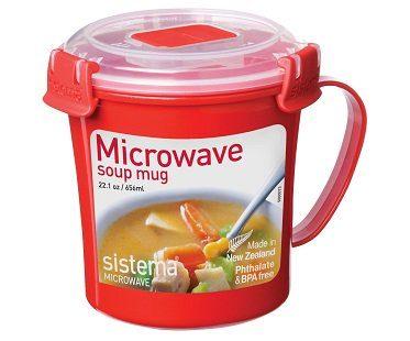 microwave soup mug red