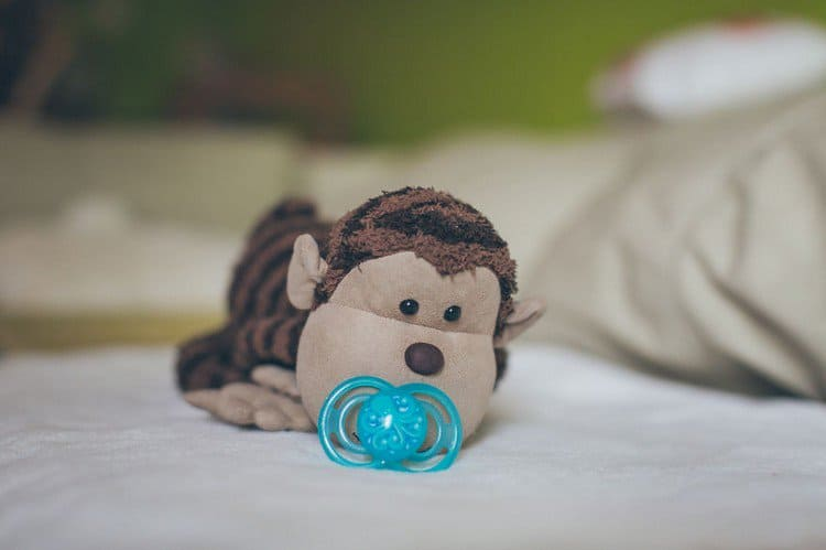 monkey with pacifier