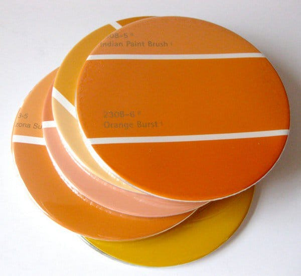 paint chip coasters
