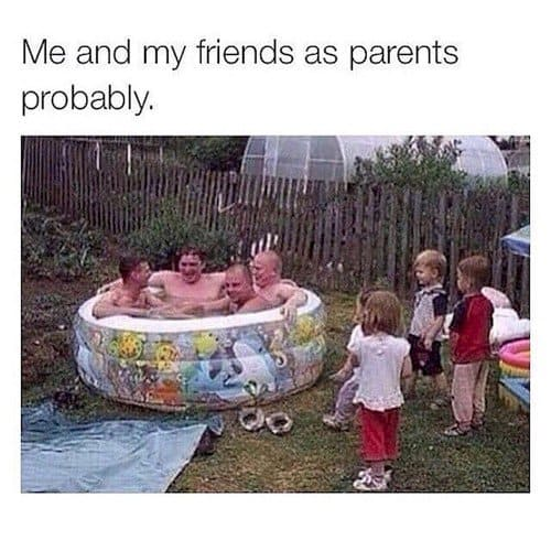 parents in paddling pool