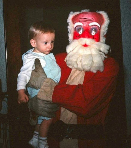 santa with mask gloves