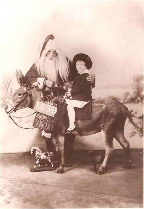 scary santa and donkey