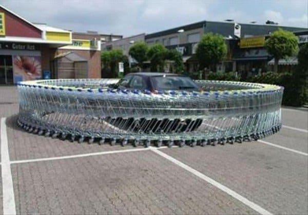 shopping carts round car