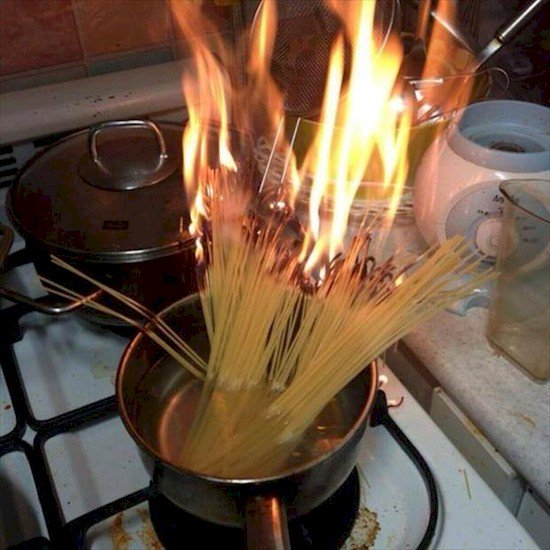 spaghetti on fire