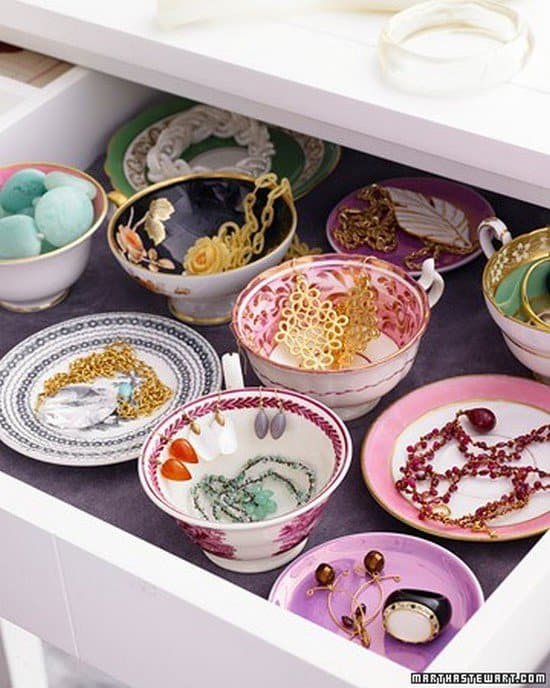 teacups saucers jewelry holders