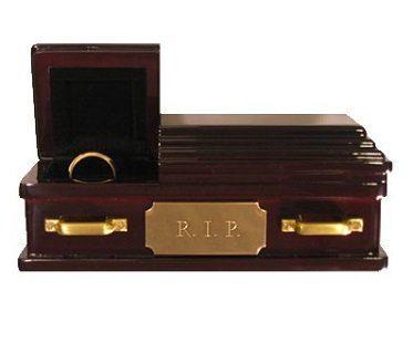 wedding ring coffin brown