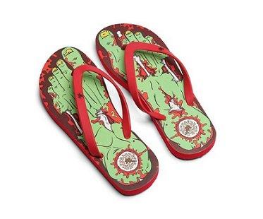 zombie flip flops red
