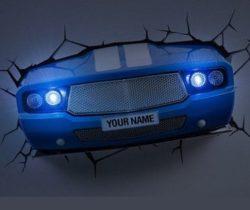 Blue Car Night Light wall