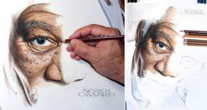 Morgan Freeman Portrait Colored Pencils