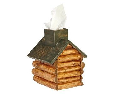 Wood Cabin Tissue Box Holder