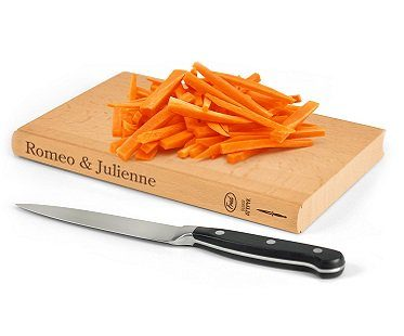 book-shaped cutting board julienne
