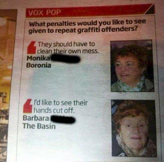 graffiti offenders opinions