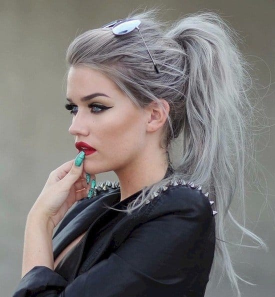 grey hair girl