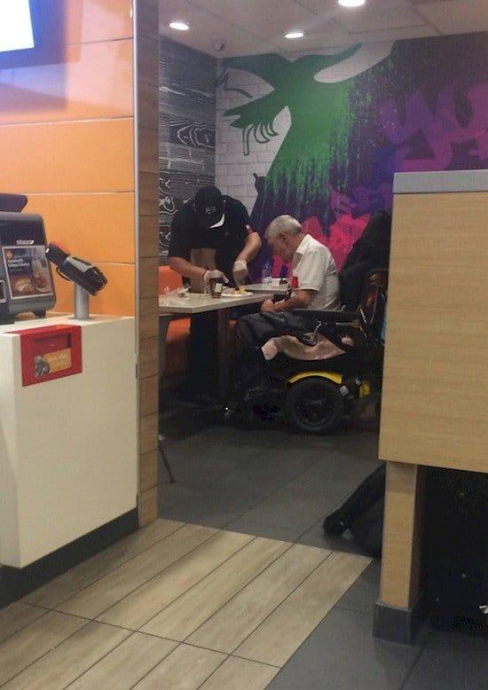 mcdonalds guy helping man