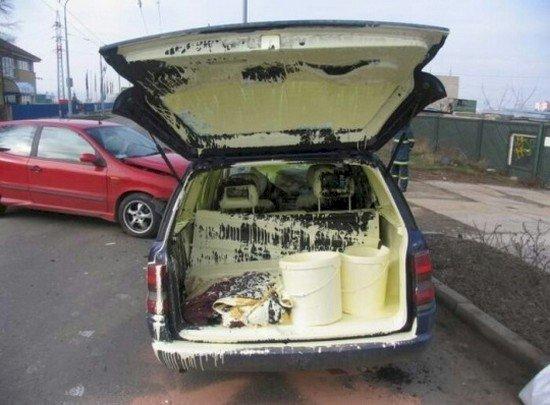 paint covered van