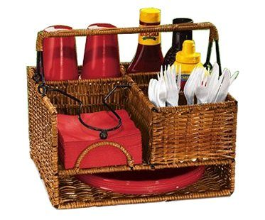 picnic basket organizer wicker