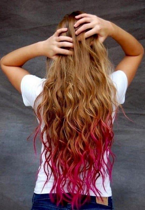 pink dipped wavy hair
