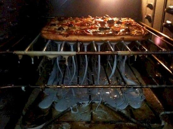 pizza plastic melt oven