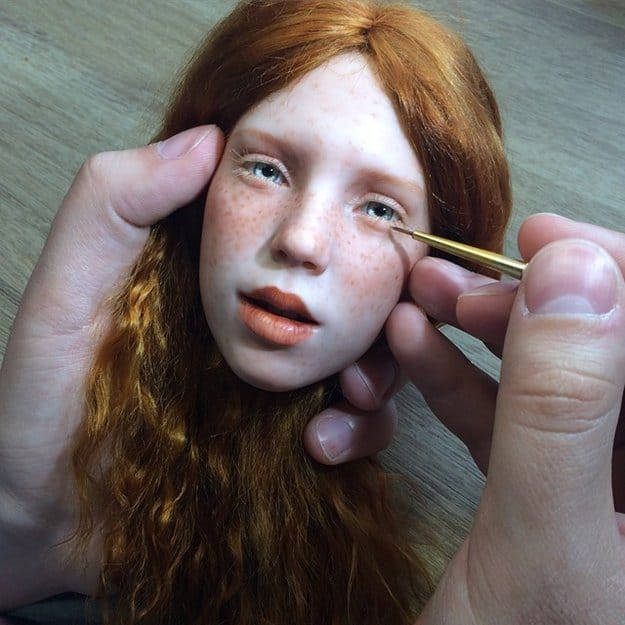 realistic-doll-faces-polymer-clay-michael-zajkov-red