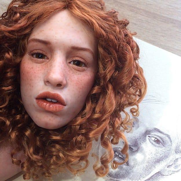 realistic-doll-faces-polymer-clay-michael-zajkov-sketch