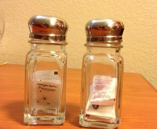 salt pepper packets jars