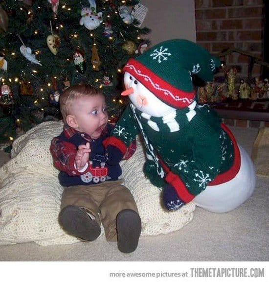 snowman scaring baby