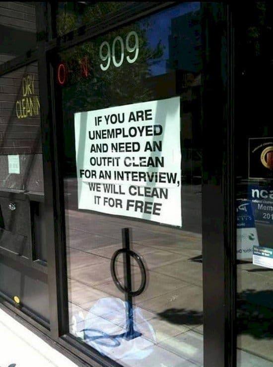 unemployed sign
