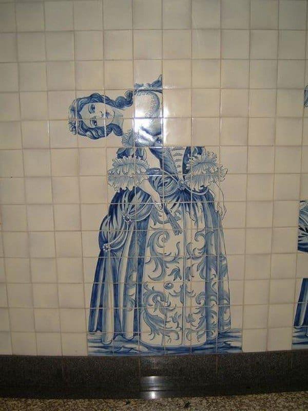wonky tiles woman