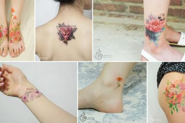 Floral Watercolor Aro Tattoo