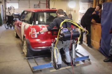 Jason Hobson Lifts 2,500-Pound Car Exoskeleton