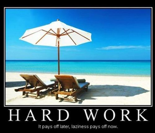 beach scene with loungers and umbrella with hard work quote