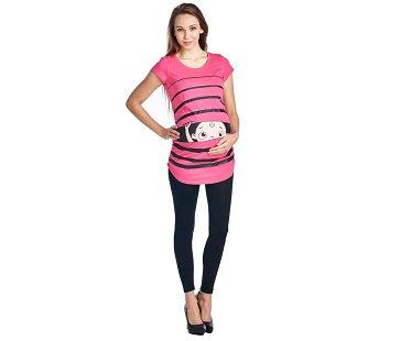 Peeking Baby Maternity T-Shirt striped