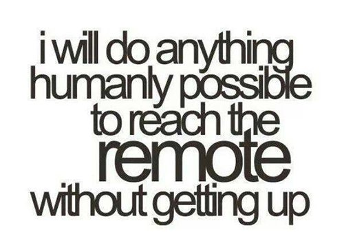i will do anything humanly possible to reach the remote without getting up