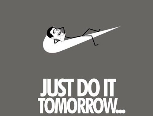 just do it tomorrow nike tick with meme man lying on it