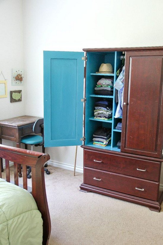 armoire blue interior
