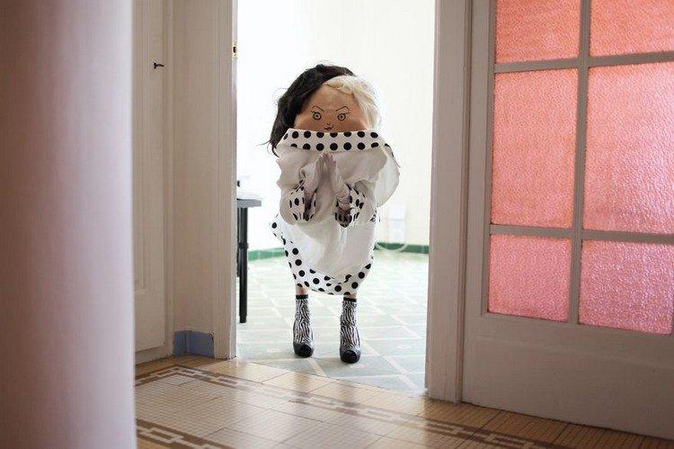 back spotty dress woman