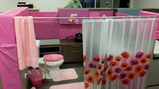 bathroom prank office