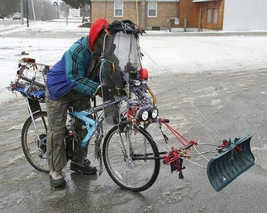 bike snow shoveller