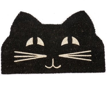 black cat doormat face