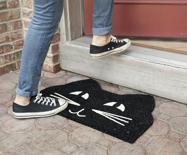 black cat doormat shoes