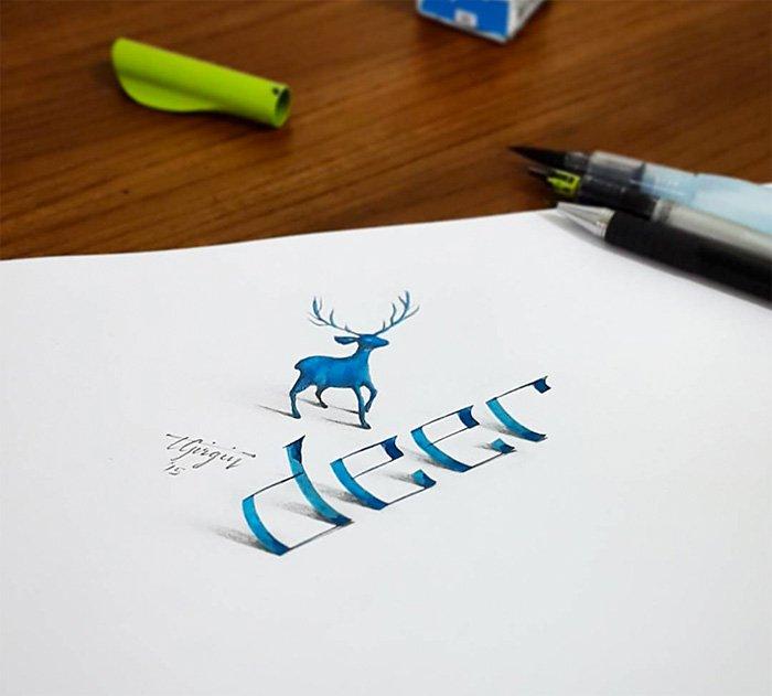 calligraphy-deer