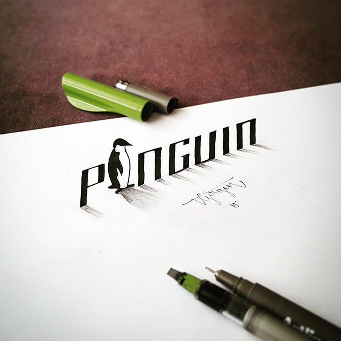 calligraphy-penguin