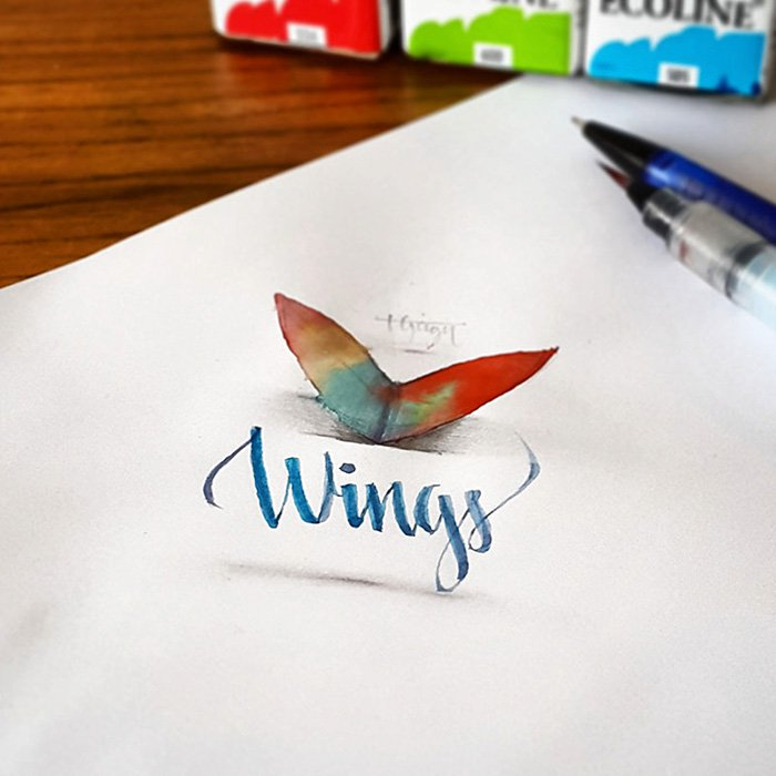 calligraphy-wings