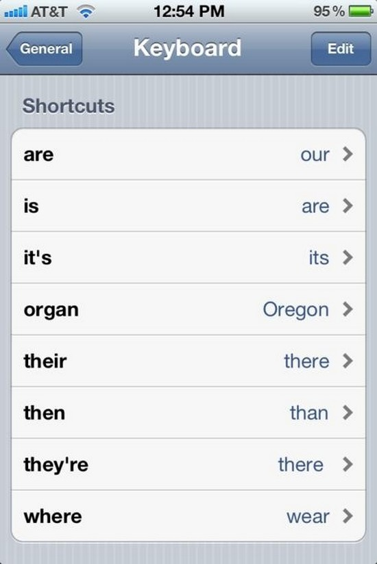 changed keyboard shortcuts