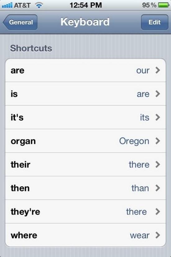 changed keyboard shortcuts