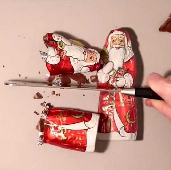 chopped chocolate santa