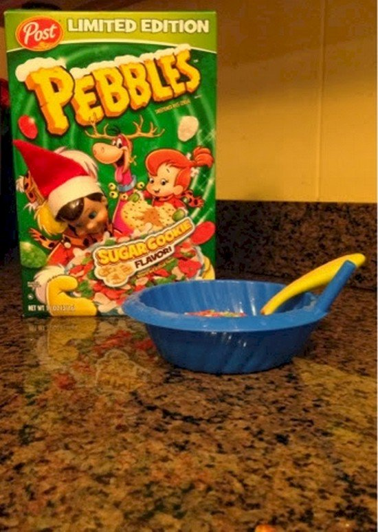 elf cereal box